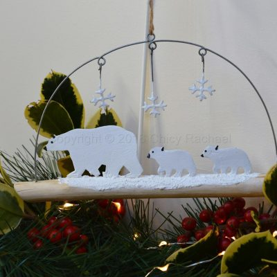 Polar Bear Family On Driftwood