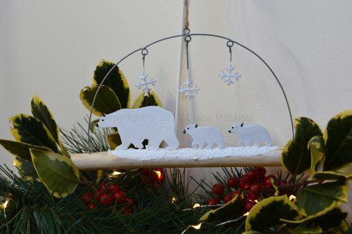 Polar Bear Family On Driftwood