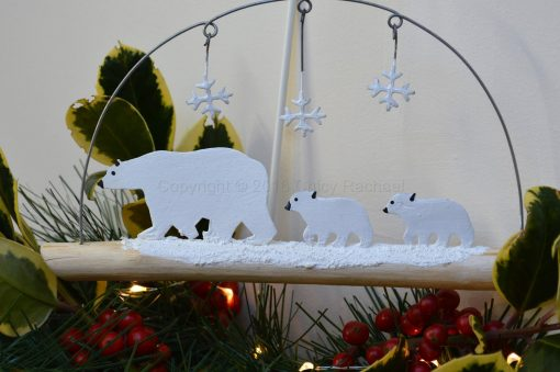 Polar Bear Family On Driftwood 1