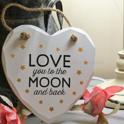 Love You To The Moon And Back With Gold Stars Hanging heart plaque