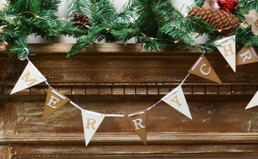 Gold And White Merry Christmas Flag Bunting 1