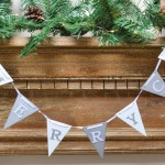 Silver And White Merry Christmas Flag Bunting 1