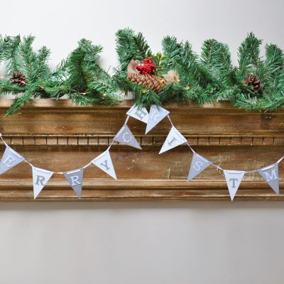 Silver And White Merry Christmas Flag Bunting