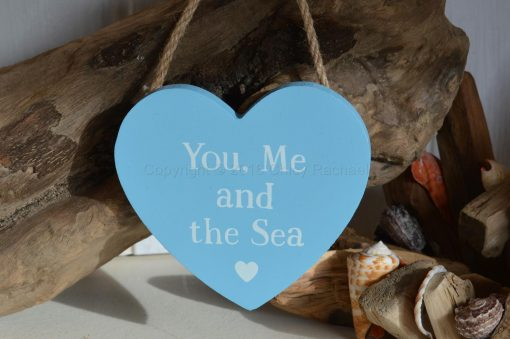 You, Me And The Sea Hanging Heart Plaque