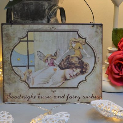 Goodnight Kisses And Fairy Wishes Metal Sign