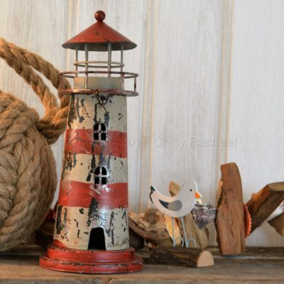 Red Lighthouse Tea Light Holder