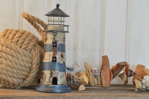 Blue Lighthouse Tea Light Holder
