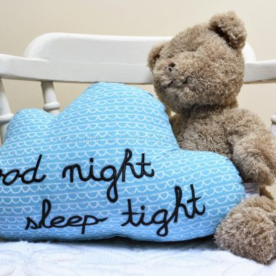 Good Night Sleep Tight Blue Cloud Cushion