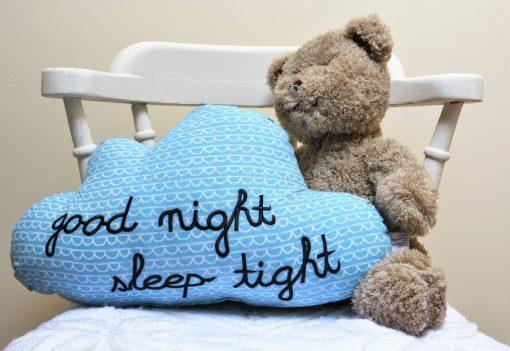 Good Night Sleep Tight Blue Cloud Cushion