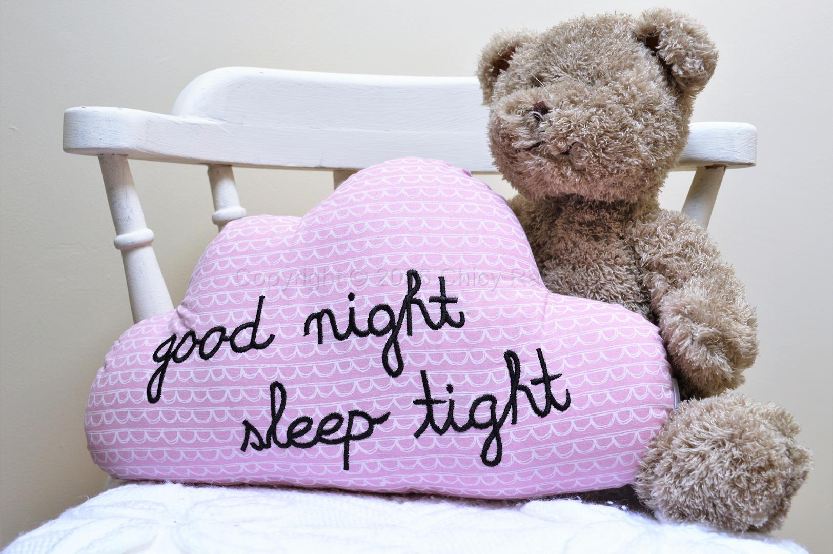 Good Night Sleep Tight Pink Cloud Cushion