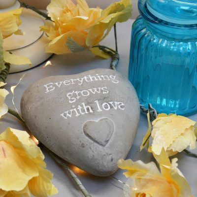 Everything Grows With Love Heart Shaped Pebble