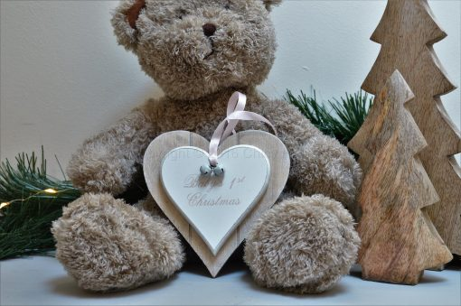 Baby 1st Christmas Double Heart Decoration Pink