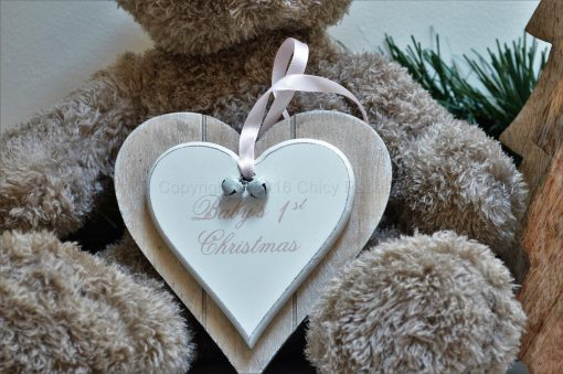 Baby 1st Christmas Double Heart Decoration Pink 1