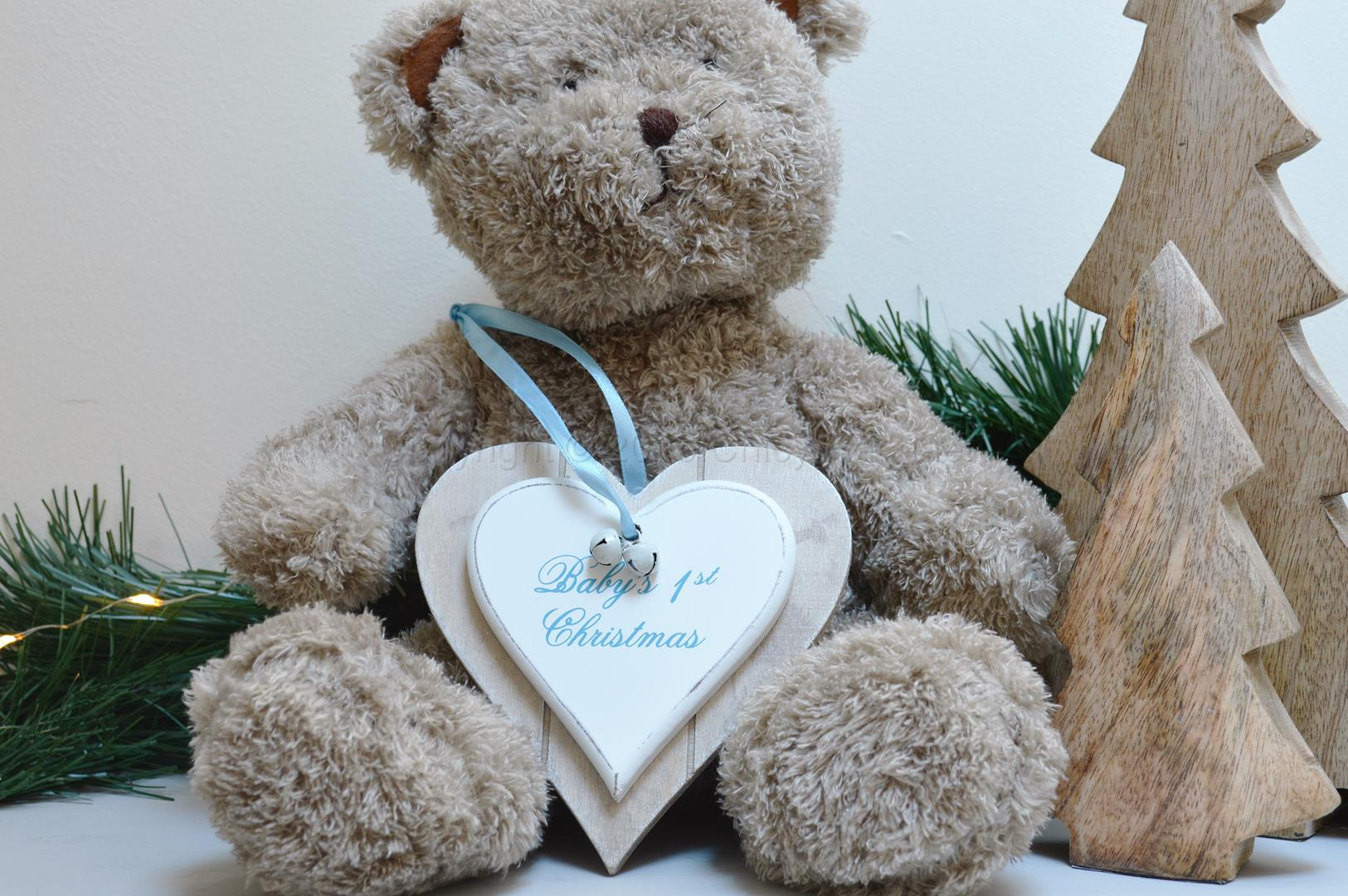 Baby 1st Christmas Double Heart Decoration Blue