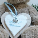 Baby 1st Christmas Double Heart Decoration Blue 1