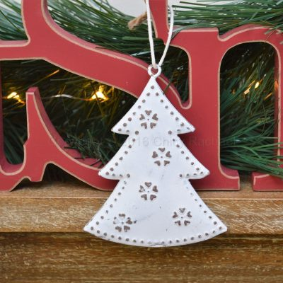 White Metal Christmas Tree Hanging Decoration