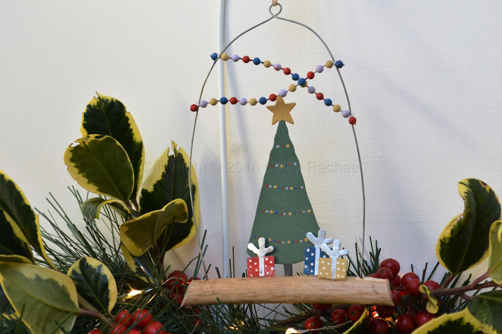 Festive Christmas Tree On Driftwood Decoration