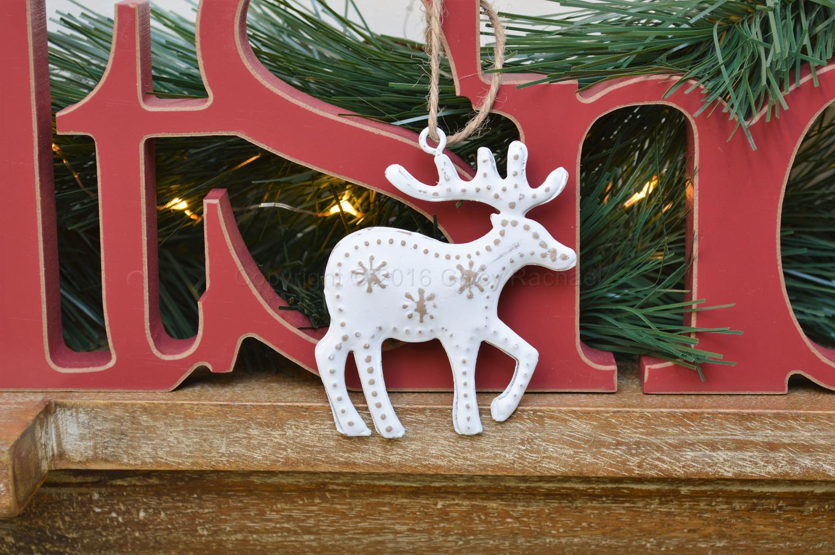 White Snowy Reindeer Hanging Decoration