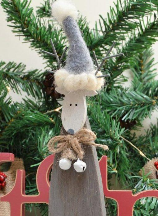 Standing Wooden Grey Reindeer 2