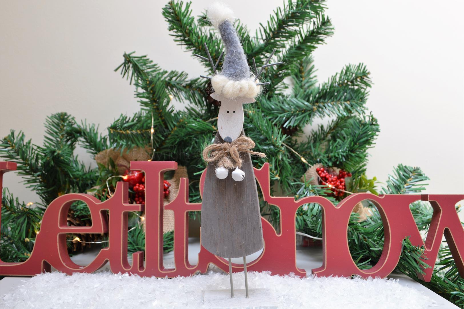 Standing Wooden Grey Reindeer
