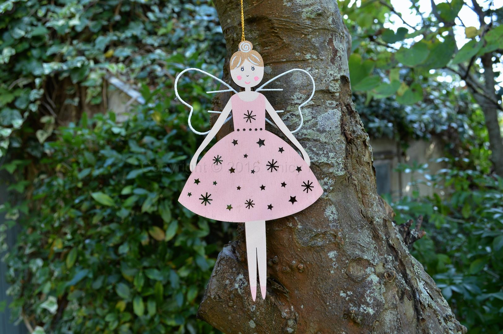 Pink Wooden Hanging Fairy