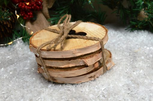 Set Of Four Log Coasters With Heart Cutout