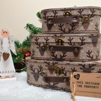 Set Of 3 Reindeer Suitcases