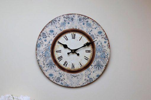 Blue Floral Framed Wall Clock 3