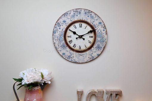 Blue Floral Framed Wall Clock