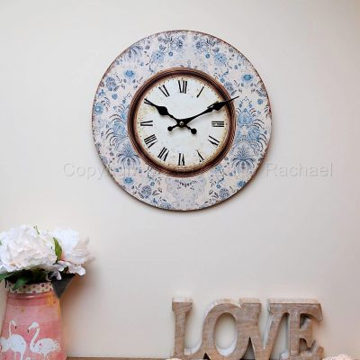 Blue Floral Framed Wall Clock 6
