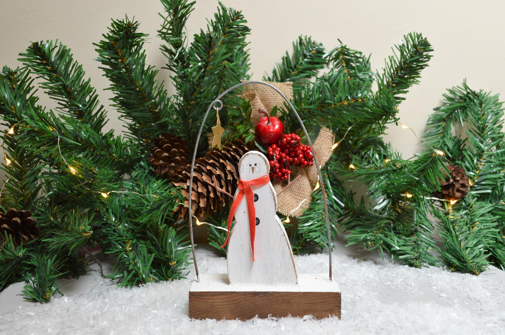 Free Standing Snowman With Scarf 9