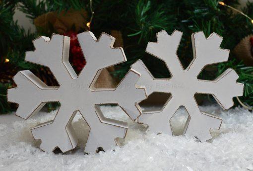 White Wooden Chunky Snowflake 6