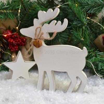 White Chunky Reindeer Standing Decoration 9