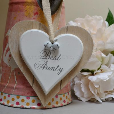 Best Aunty Double wooden Hanging Heart