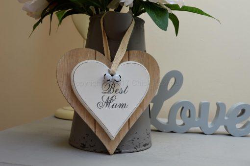 Best Mum Double Hanging Heart