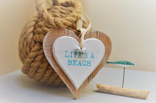 Life's A Beach Double Wooden Hanging Heart 2