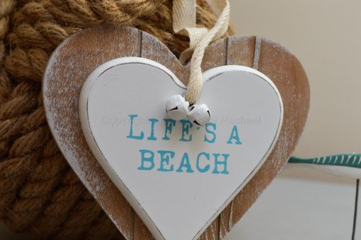 Life's A Beach Double Wooden Hanging Heart 3