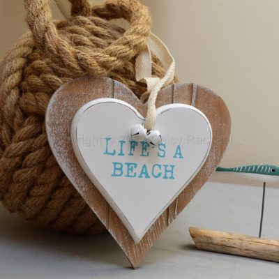 Life's A Beach Double Wooden Hanging Heart