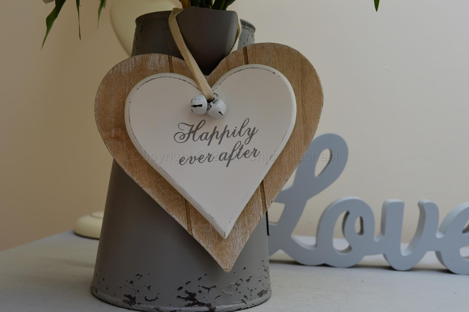 Happily Ever After Double Wooden Hanging Heart
