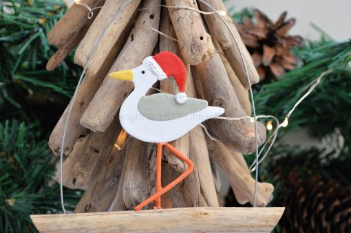 Seagull In Santa Hat On Driftwood 4
