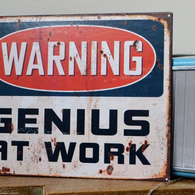 Warning Genius At Work Metal Sign