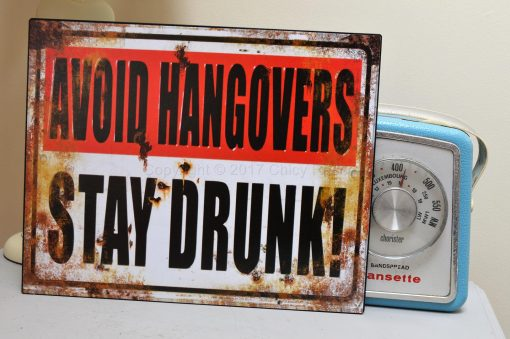 Avoid Hangovers Stay Drunk Metal Sign