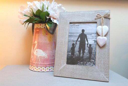 Wooden Photo Frame With Wooden Hearts 2