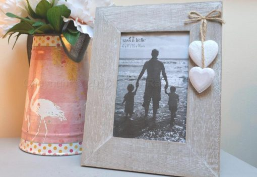 Wooden Photo Frame With Wooden Hearts