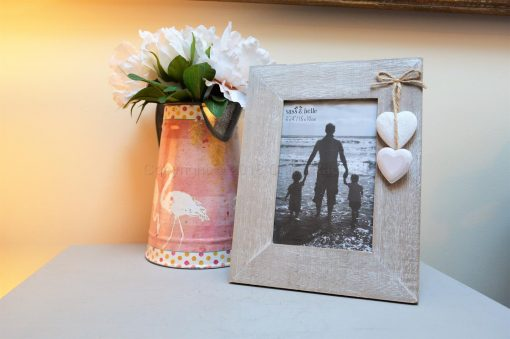 Wooden Photo Frame With Wooden Hearts 9