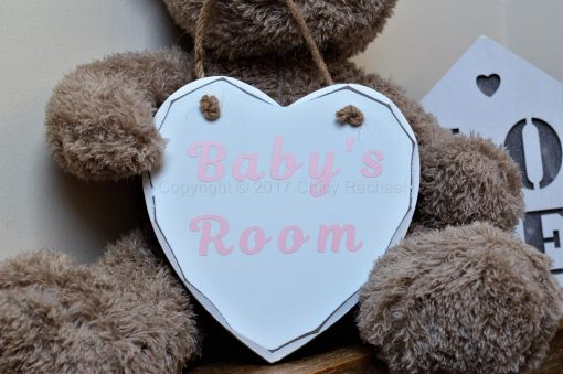 """Handmade Pink """"Baby's Room"""" Painted Wooden Hanging Heart"""
