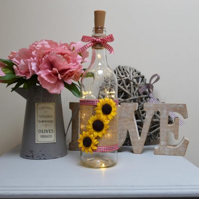 Handmade Sunflower LED Light Up Bottle