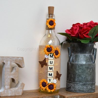 Handmade Sunflower Mummy LED Light Up Bottle