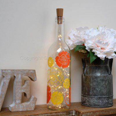 Handmade Rose Head LED Light Up Bottle