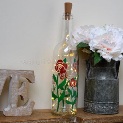 Handmade Rose LED Light Up Bottle